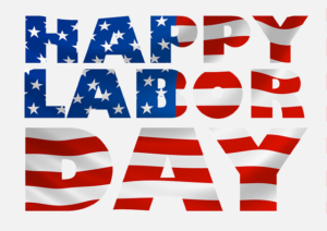 Happy Labor Day writing with american flag motives