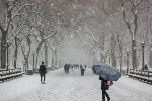 A snowstorm in NYC. When moving from Tucson to NY be aware of the climate difference.