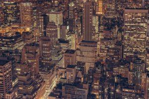 A view at New York at night.