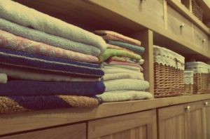 towels on shelves