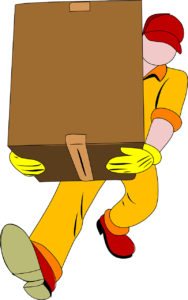 professional mover carrying a box