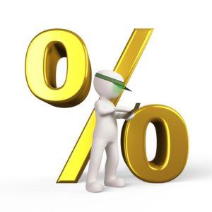 A figure of a man calculating discount.