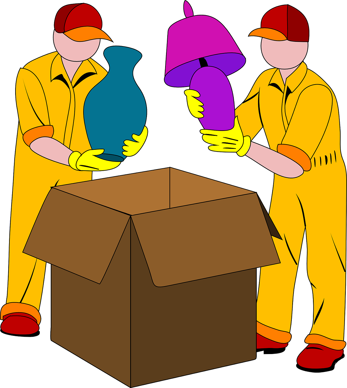 Full service movers packing fragile things in a box