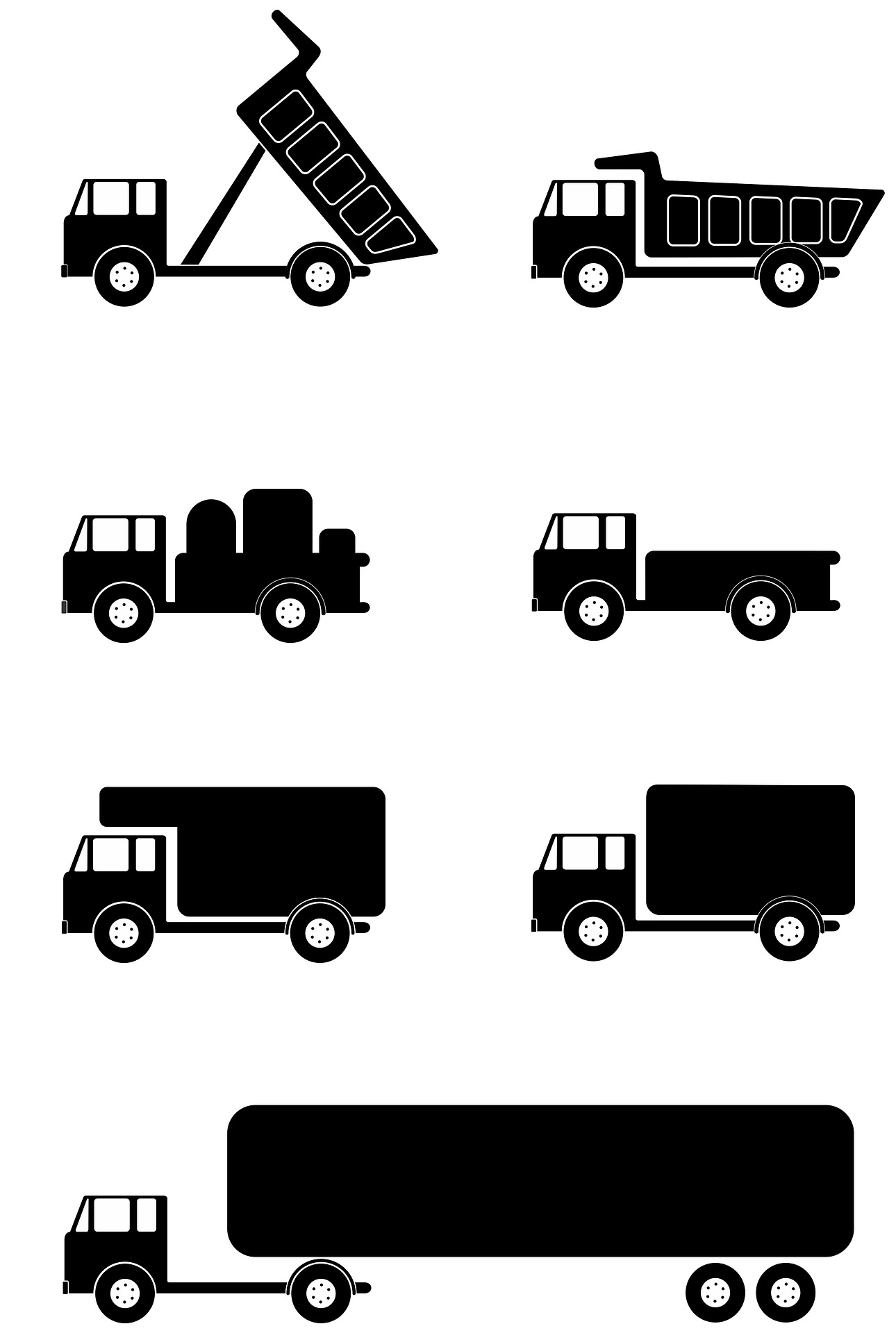 Different-sized vehicles of full service movers