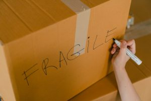 moving boxes labeled fragile