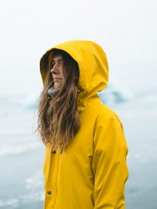 person in a raincoat