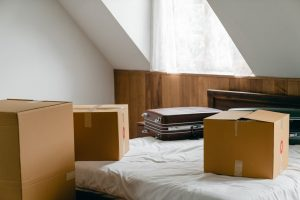 Boxes and suitaceses in a room