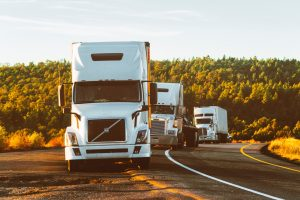 A fleet of moving trucks