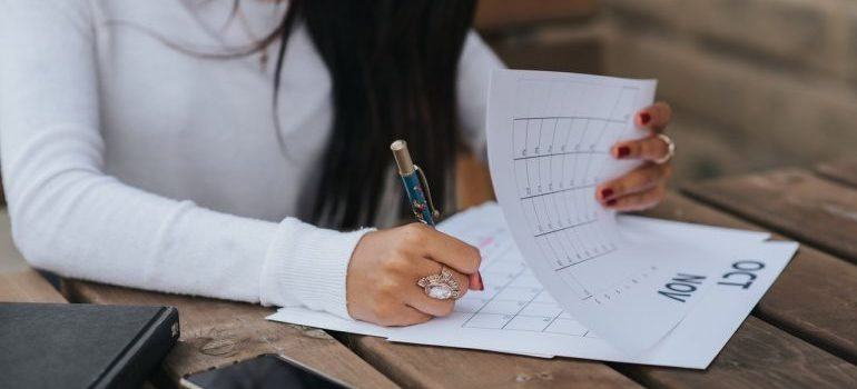 Woman checking her calendar