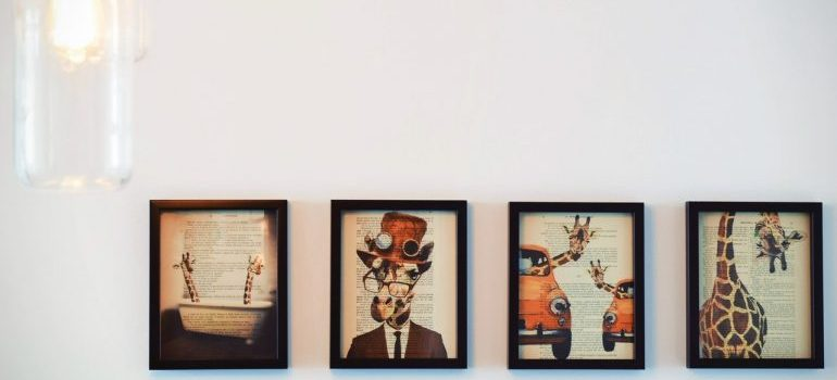Pictures on a white wall
